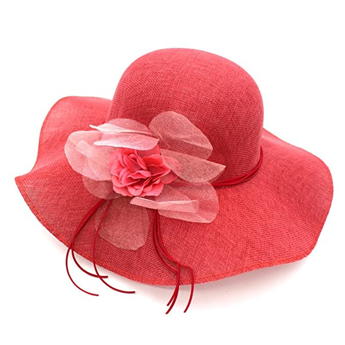 1d9ed21da Image Unavailable. Image not available for. Color: 2019 Sun Hats Flower Wide  Brim Hats for Female Light Weight Breathable hat Casual Shade Summer