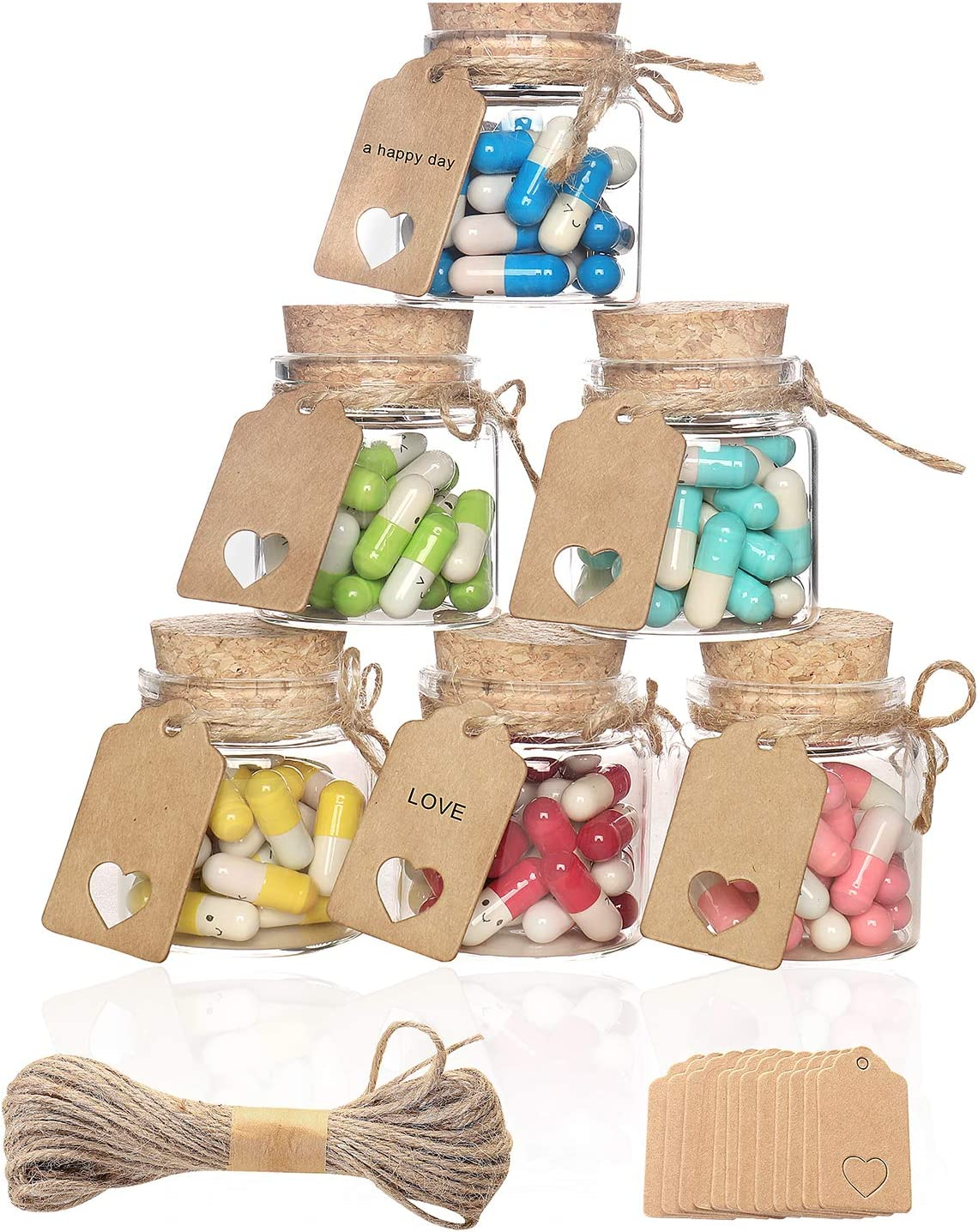 VOFUWS 12pcs 1.7oz Mini Glass Cork Bottles Small Favor Bottles with Cork Lids Clear Glass Container 12 Tags and 10-Meter Twine (2.36inchx1.85inch)