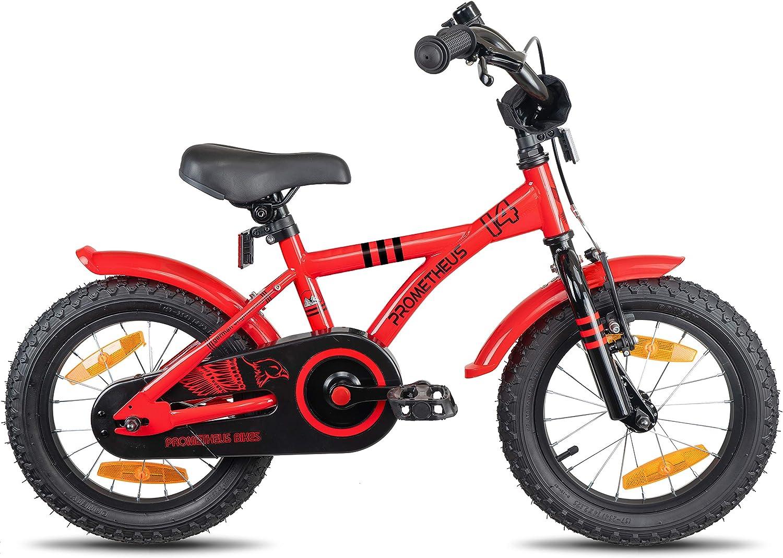 Prometheus Bicicleta Infantil | 14 Pulgadas | niño y niña | Rojo Negro | A Partir de 4 años | con ruedines y Freno de contrapedal | 14