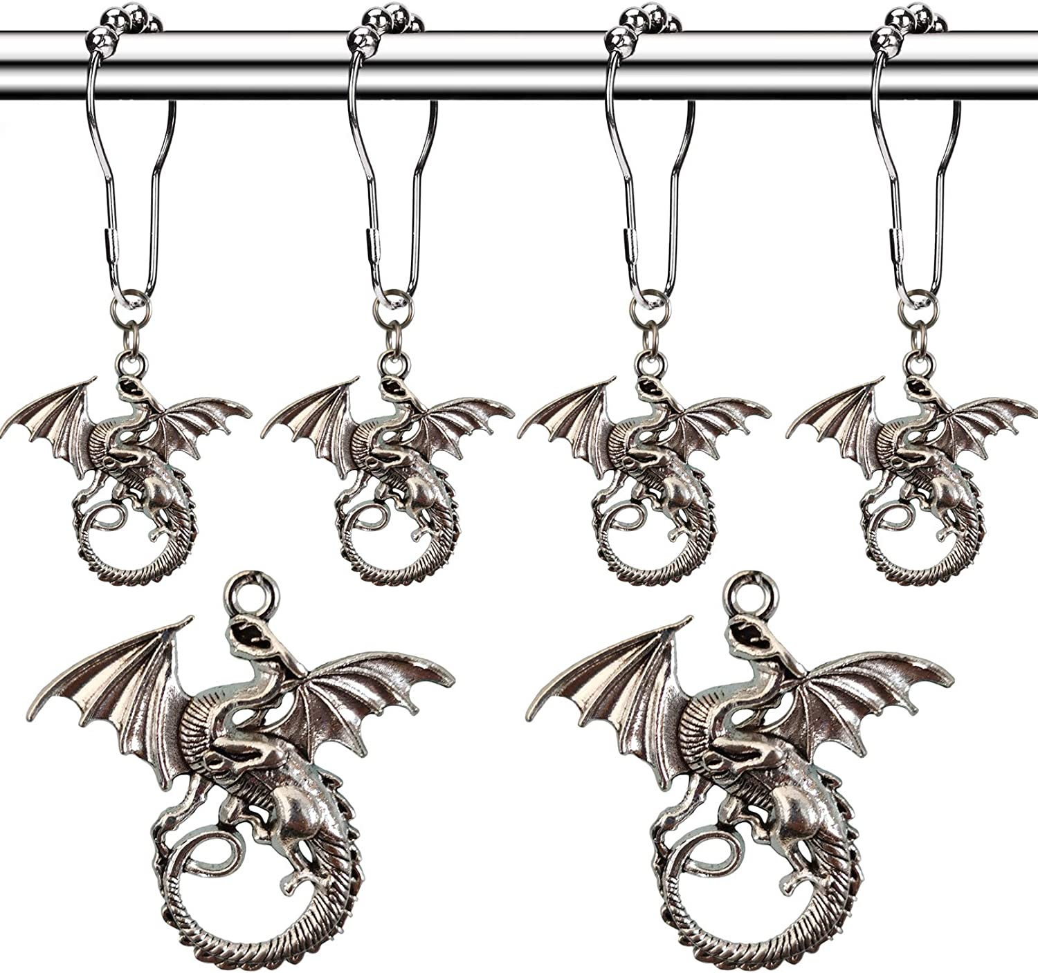 Molika Dragon Shower Curtain Hooks Rings - Antique Silver Metal Curtain Hangers Decorative Bath Room Accessories Set - Forest, Country, Village Theme Kids Baby Room Bathroom Decor (Dragon-01)