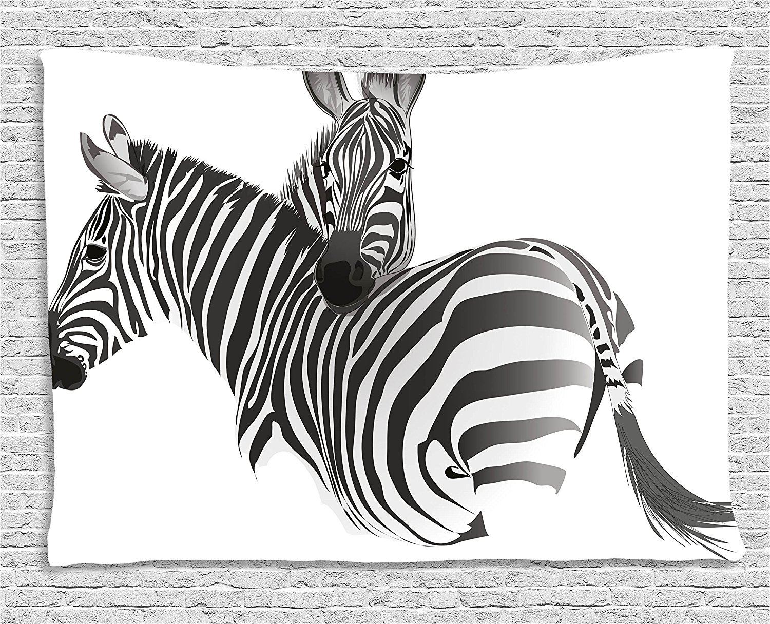 asddcdfdd Zebra Tapestry, African Animals Cute Couple Safari Theme Savannah Jungle Camouflage Exotic, Wall Hanging for Bedroom Living Room Dorm, 80 W X 60 L Inches, Charcoal Grey White