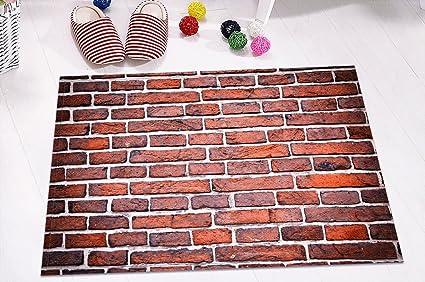 Sfondo di muro di mattoni rossi tappeti da bagno tappetini da