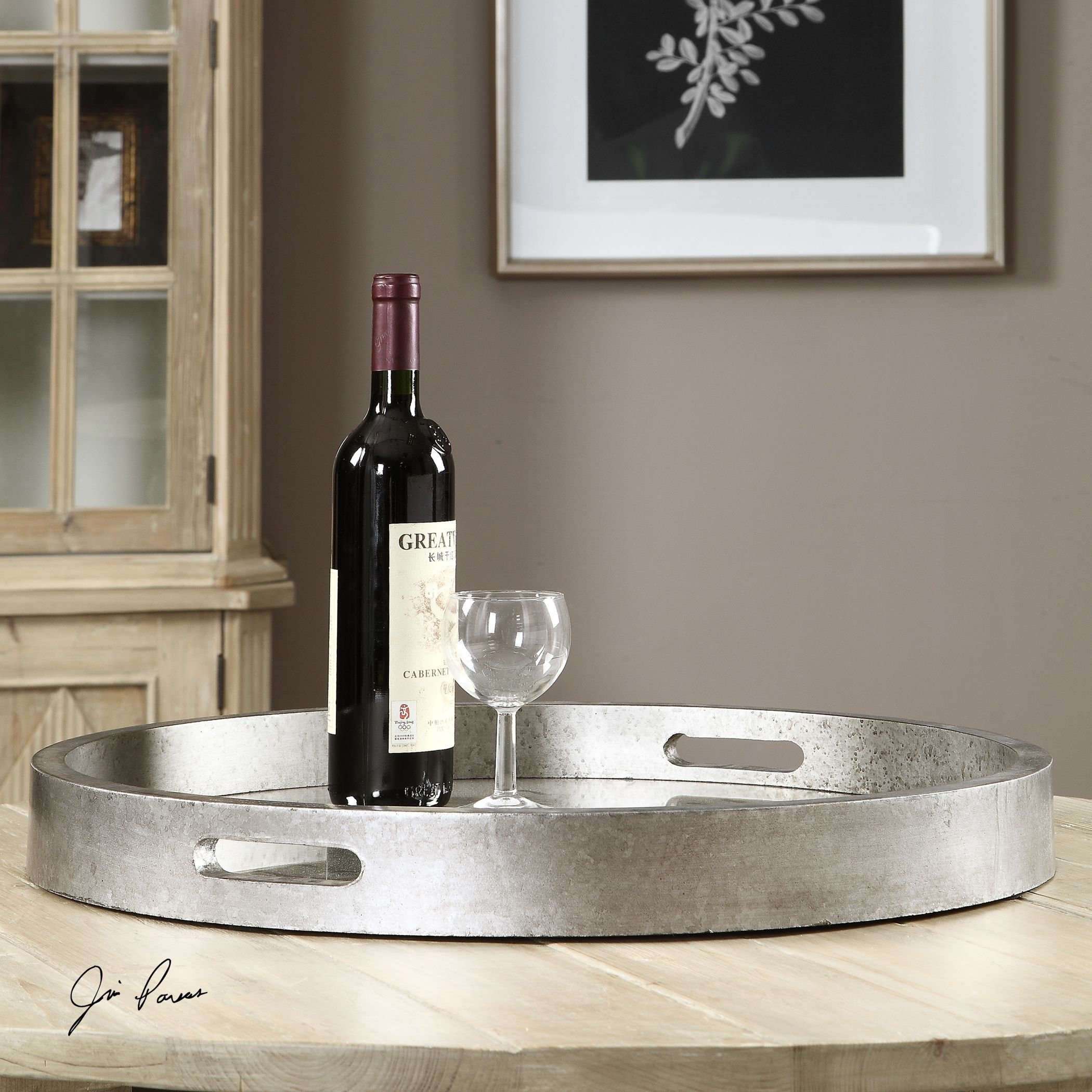 Round Silver Mirrored Decorative Serving Tray | Handles Bar Contemporary Classic by My Swanky Home