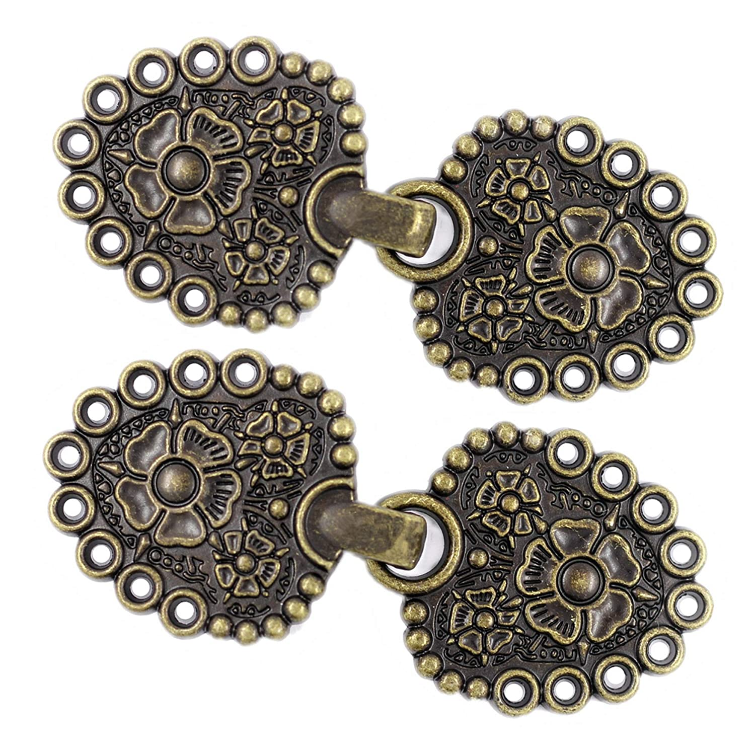Bezelry Romantic Bouquet Cape or Cloak Clasp Fasteners Antique Brass Pack of 4 Pairs 62mm x 25mm Fastened Sew On Hooks and Eyes Cardigan Clip.