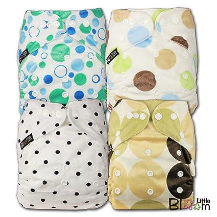LittleBloom, reutilizable bolsillo pañal de tela, cierre: Popper, Set de 4,