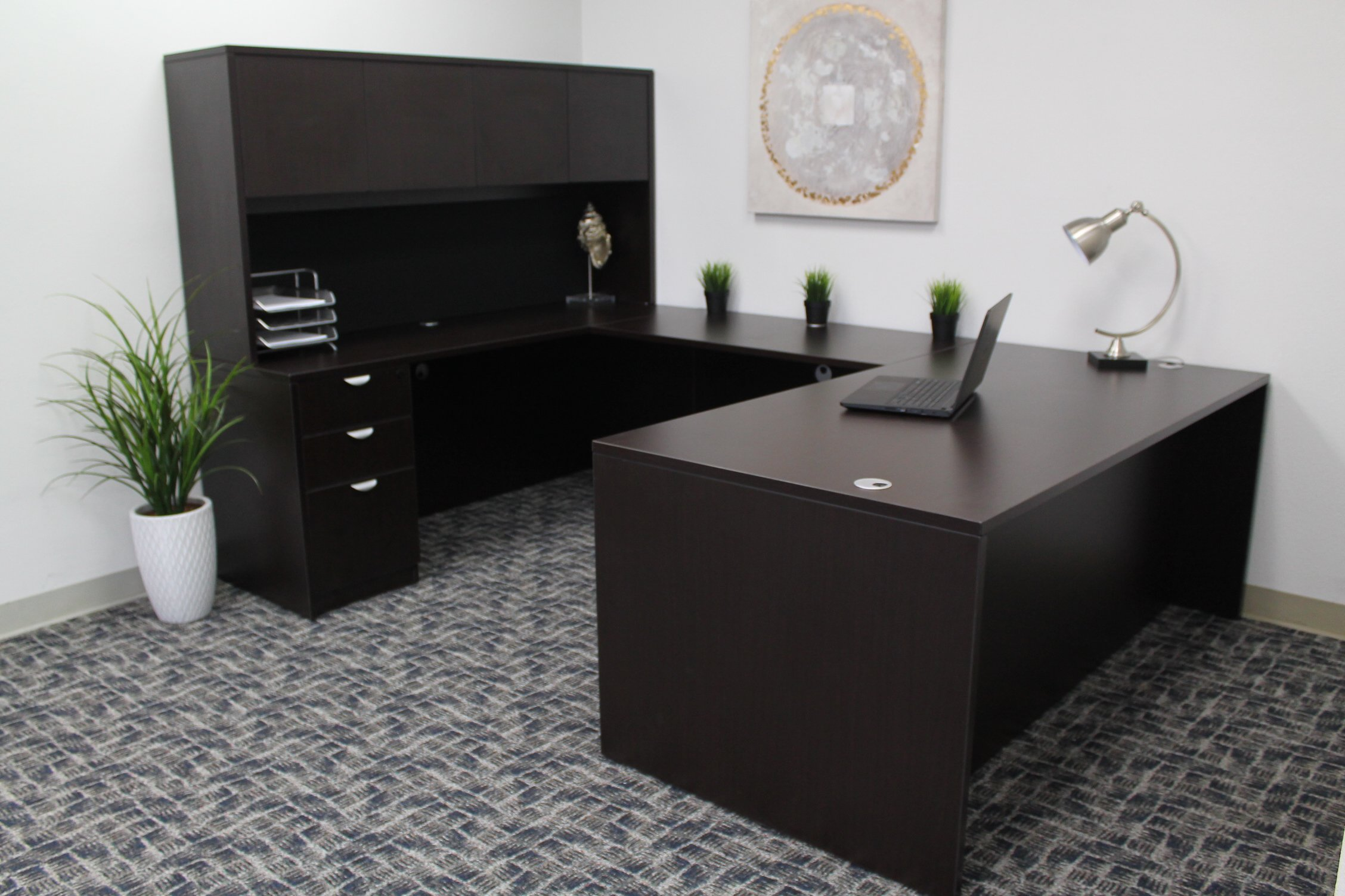 Boss Office Products Holland 71'' Executive U-Shape Desk with File Storage Pedestal and Hutch, Mocha by Boss Office Products (Image #7)