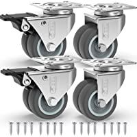 GBL® 4 Zwenkwielen 50mm + Schroeven TPR Rubber | Zwaarlastwielen 400KG - Meubelzwenkwielen Voor Meubels | Zwenkwieltjes…