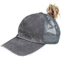 High Ponytail Baseball Hats Cap for Women(Mesh/Glitter/Washed/Classic),Messy Bun Ponycaps Adjustable Cotton Sun Baseball Cap