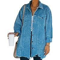 Blusa de Pana Larga para Mujer Color Liso Mangas Largas Chaqueta Gruesa Larga Pana de Mujer con Botones Estilo Casual…
