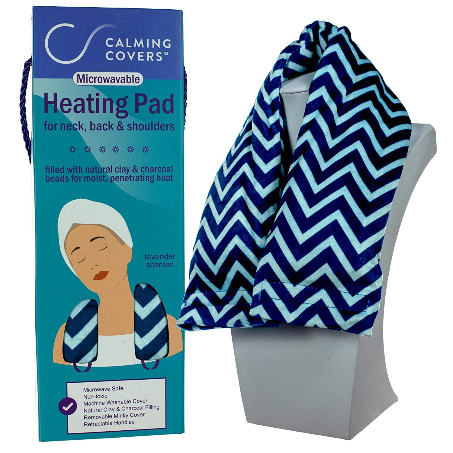 Microwavable Heating Pad Wrap for Neck, Shoulder, and Back Pain | Filled with Clay & Charcoal Beads | Lightly Scented with Lavender | Washable Minky Cover | Blue & White Chevron