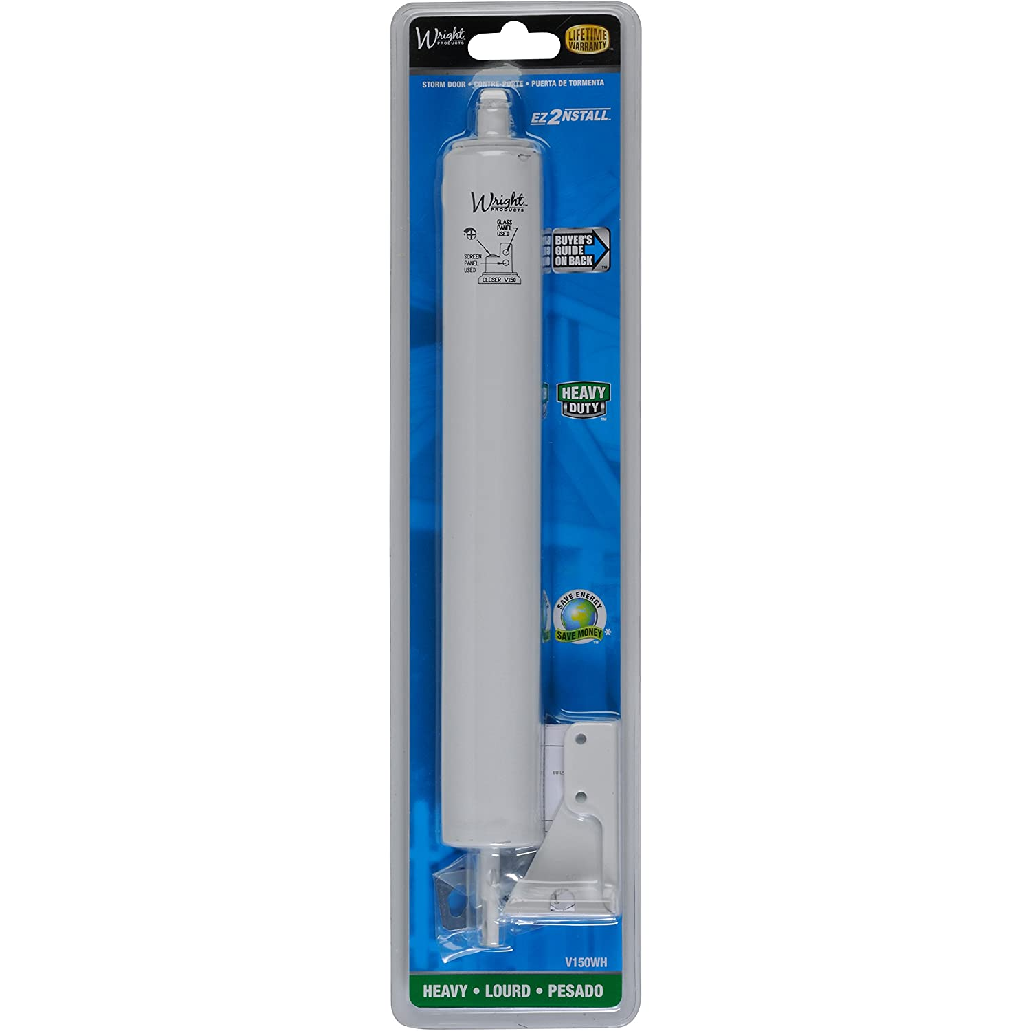 Wright Products V150wh Heavy Duty Pneumatic Closer White Screen