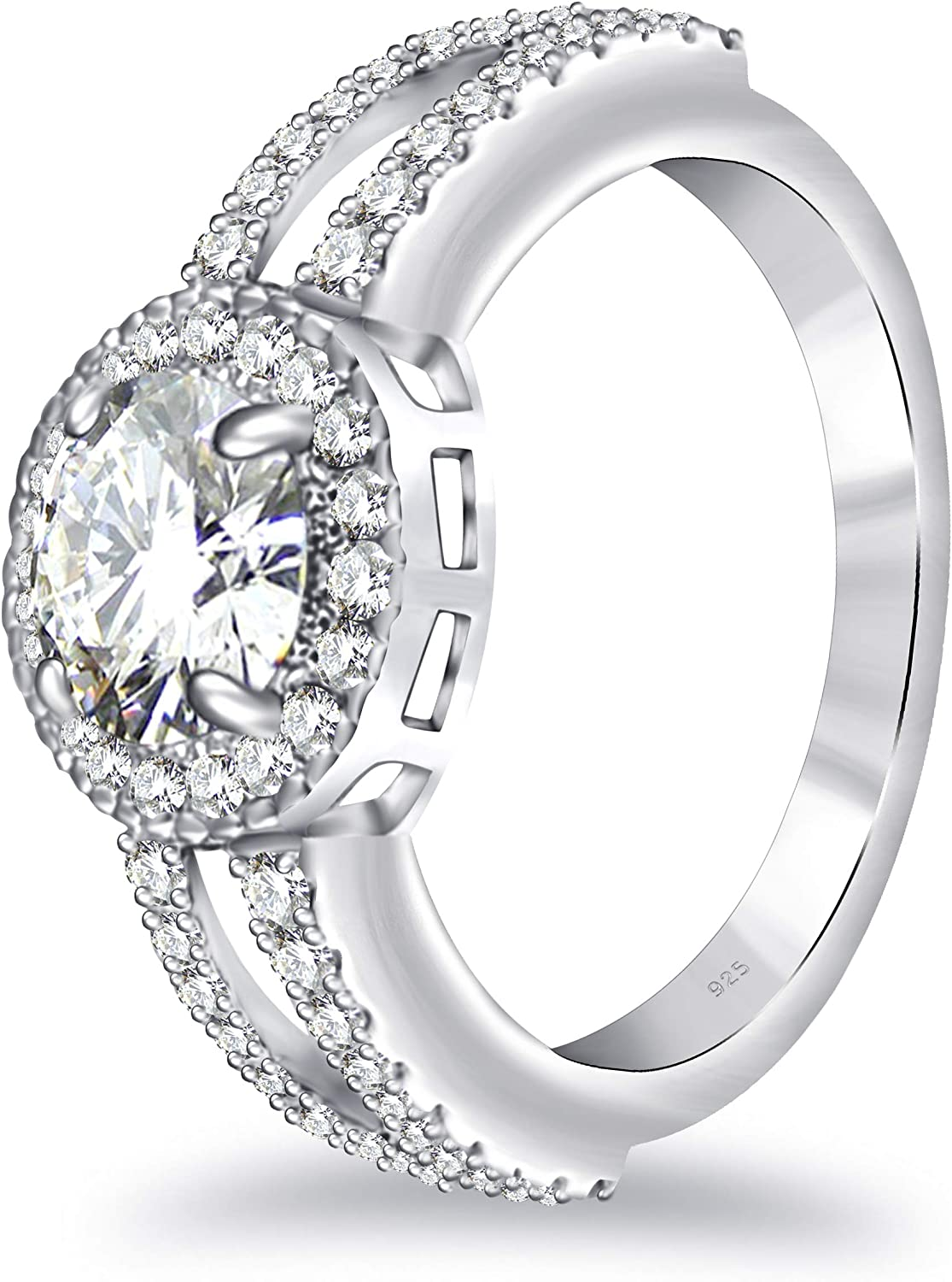 2 Ct Pink Round Moissanite Halo Engagement Wedding Halo Ring 925 Sterling Silver