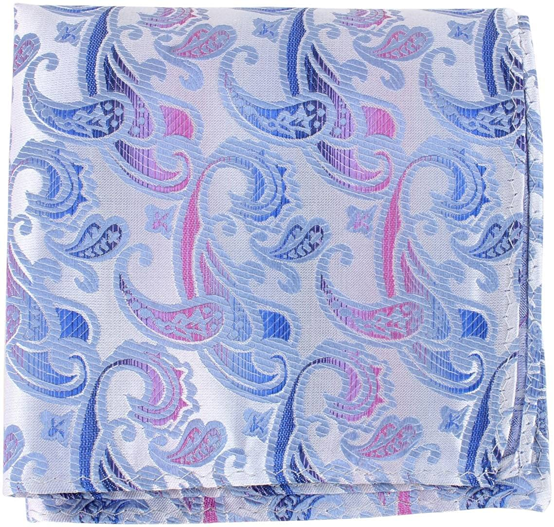 Knightsbridge Neckwear Mens Paisley Silk Pocket Square Blue