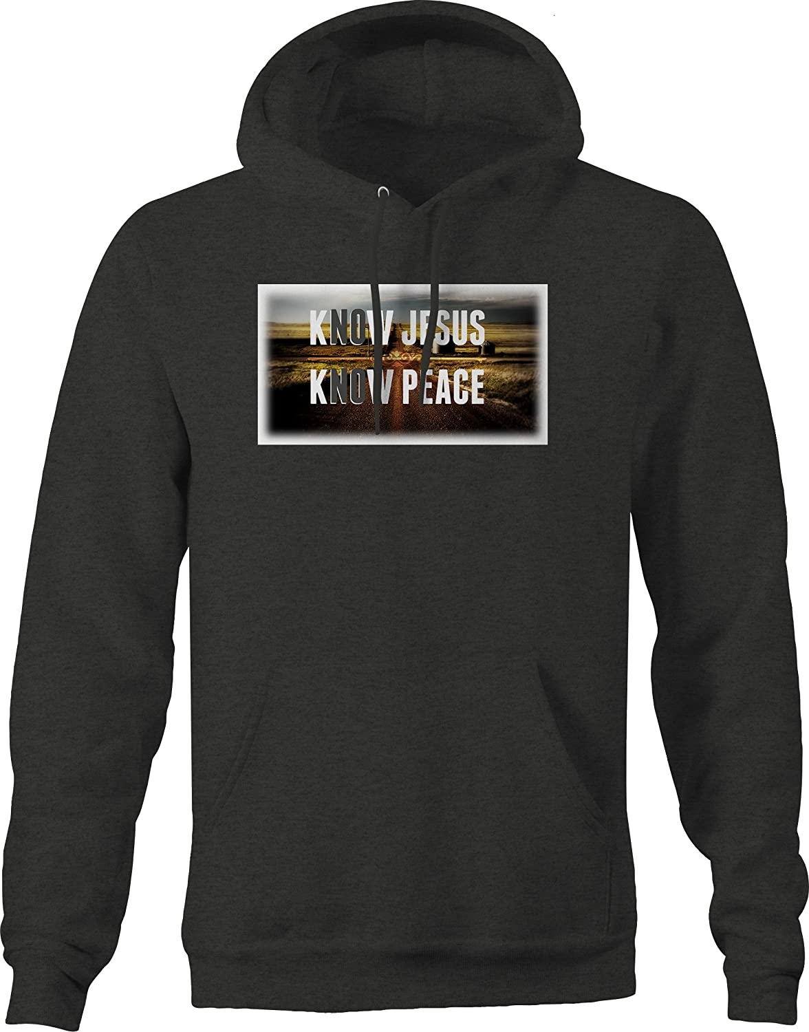 Know No Jesus Peace American Values Farm Country Graphic Hoodie for Men