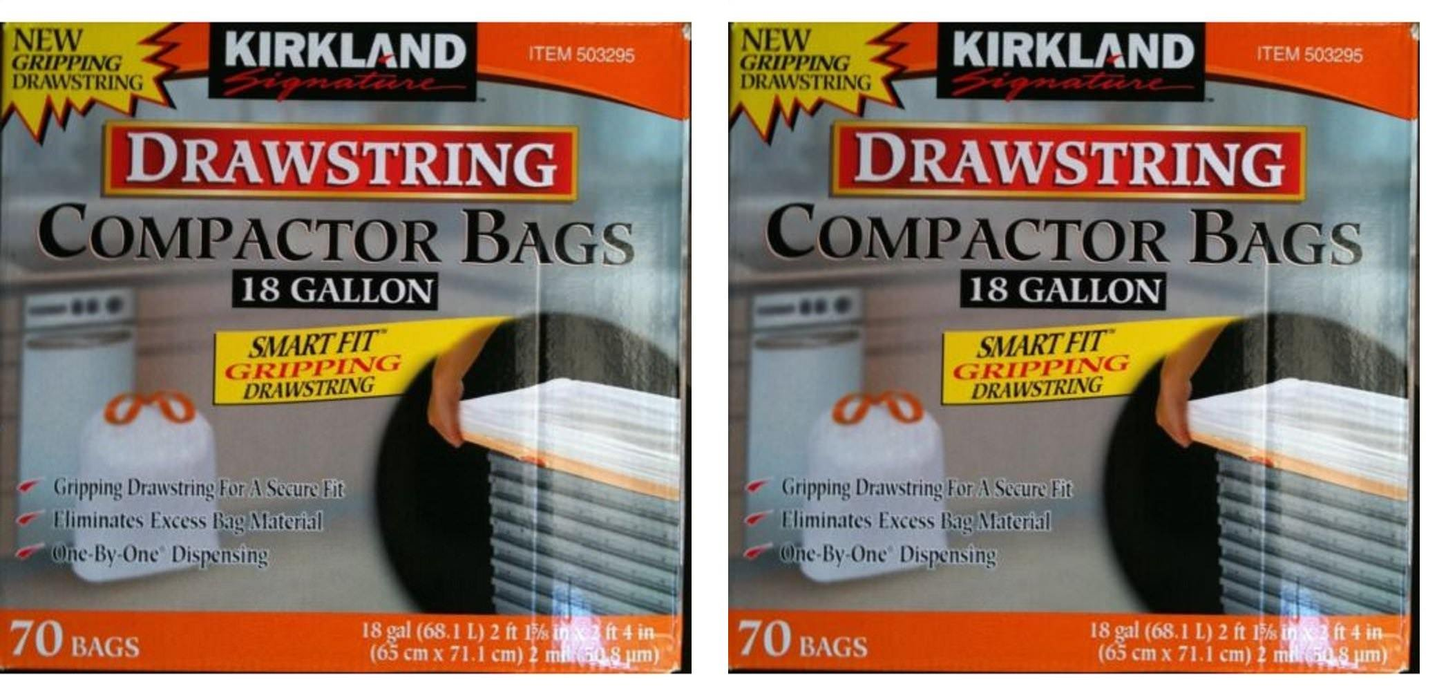 Kirkland Compactor Bags Smart Fit Gripping Drawstring Trash Bags 18 Gallon, 2 Pack (70 ct Box)