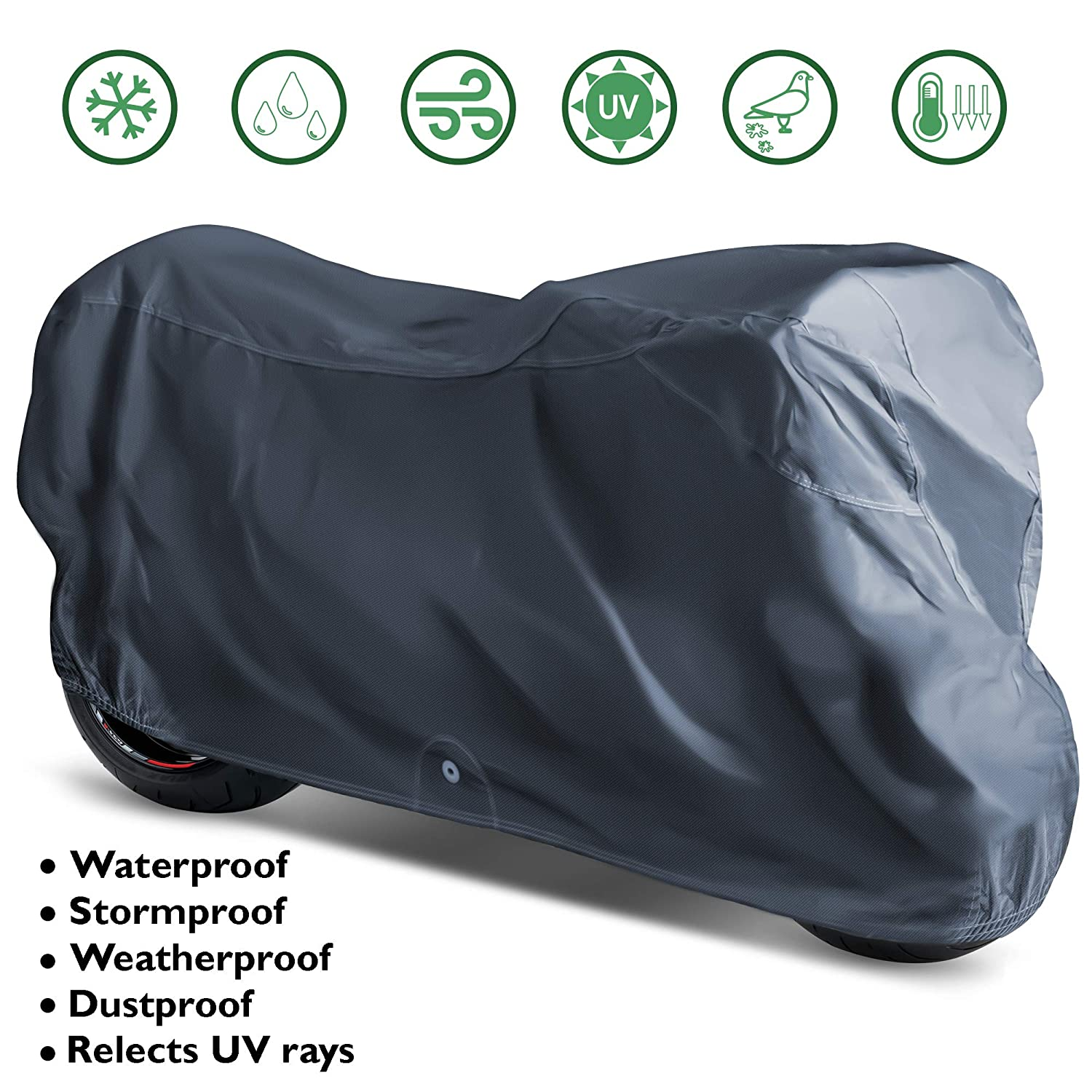 OxGord Executive Storm-Proof Motorcycle Cover - Water Resistant 7 Layers - Ready-Fit/Semi Custom - Fits up to 111 Inches