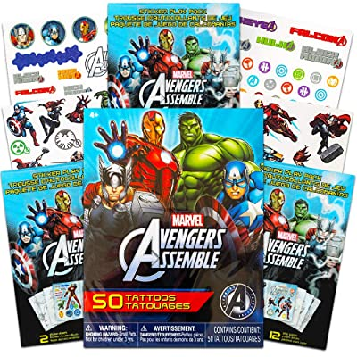 Super Hero Tattoos Party Bundle -- 50 Marvel Avengers Super Hero Temporary Tattoos with Avengers Stickers (Party Supplies): Beauty