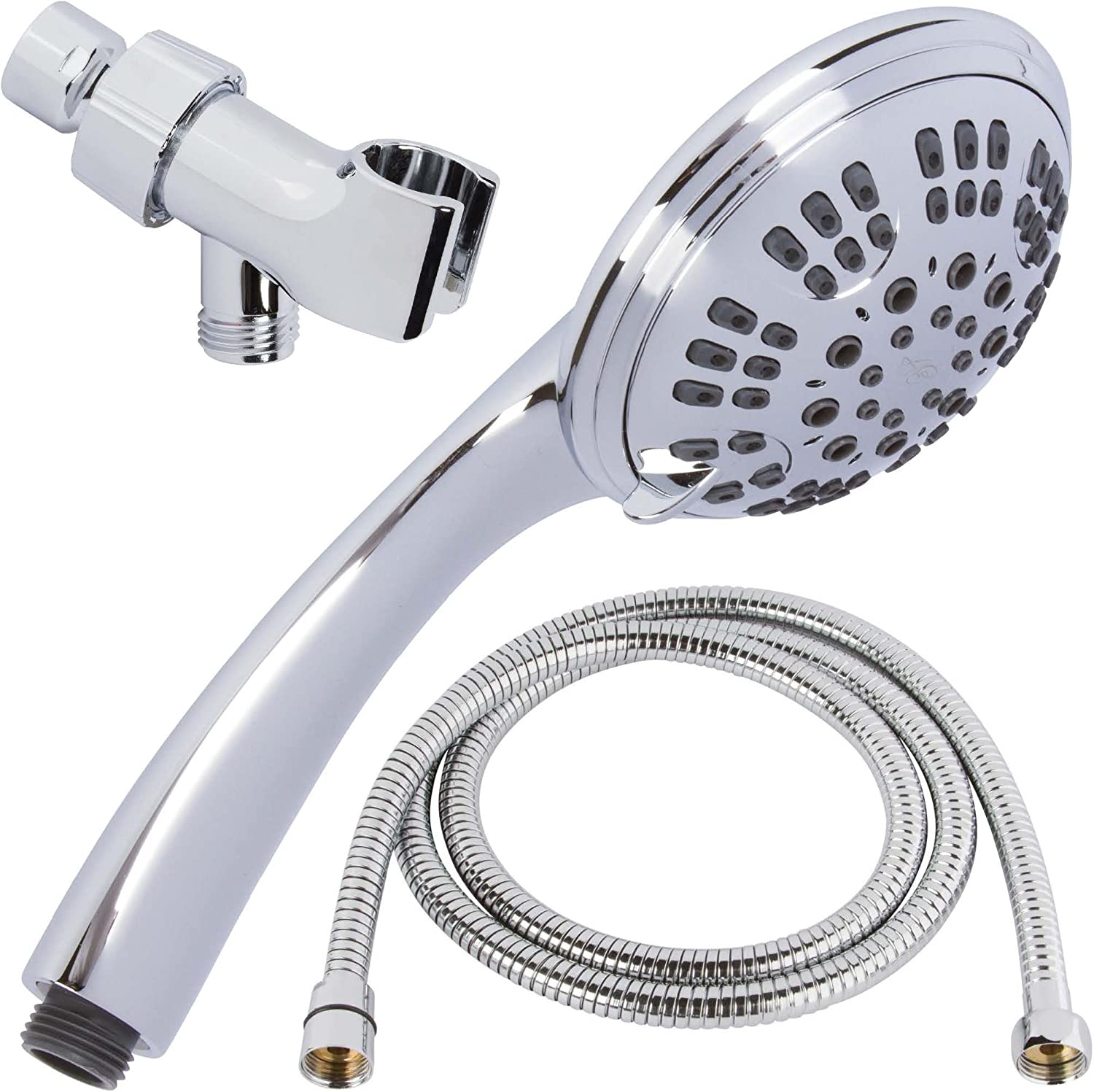 6 Function Handheld Shower Head Kit - High Pressure, Removable Hand Held Showerhead With Hose & Mount And Adjustable Rainfall Spray, 2.5 GPM - Chrome