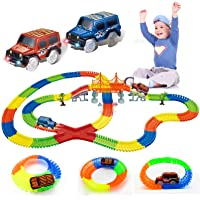 Glow Race Tracks Toy with 2 LED Light Race Cars and 18 ft Glow in The Dark 360Pcs Bendable Race Track Set Toys for Boy…