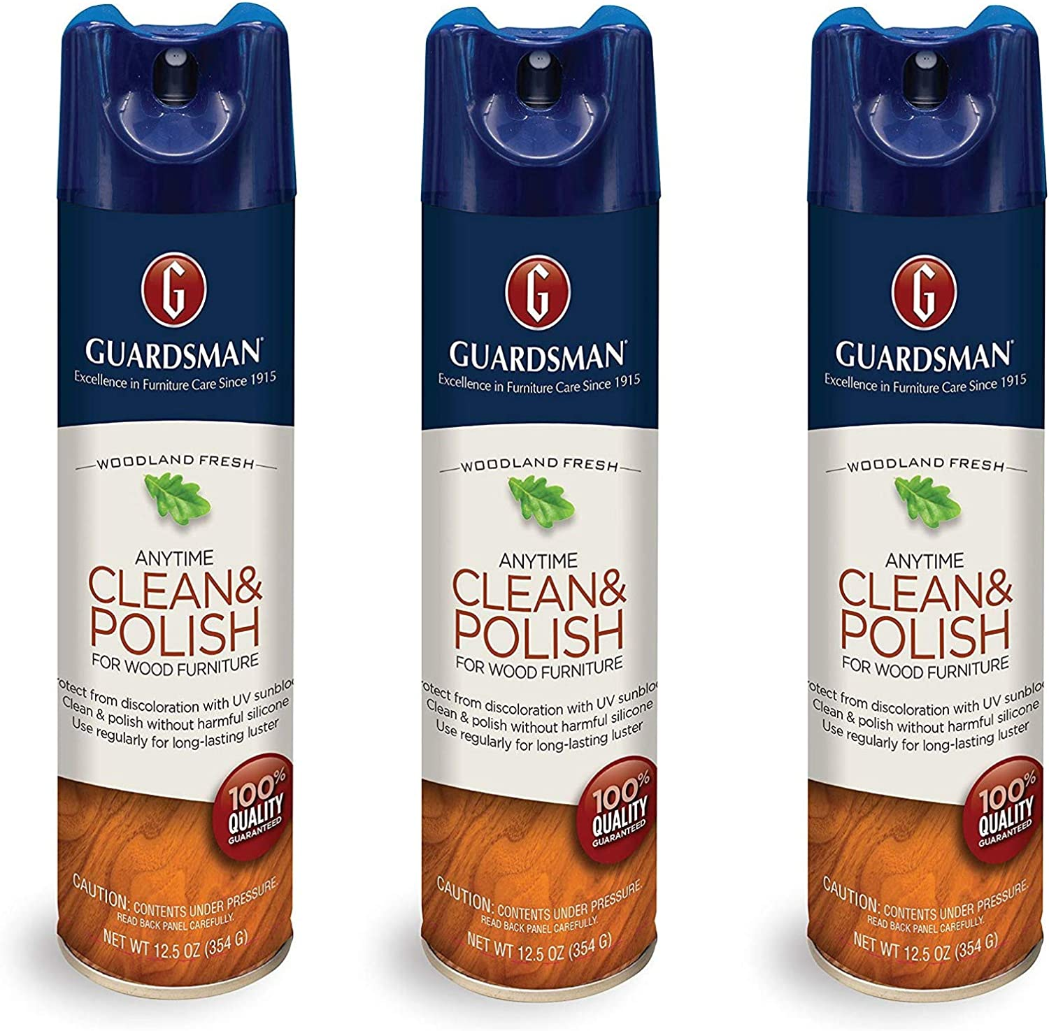 Guardsman Clean & Polish For Wood Furniture - Woodland Fresh - 12.5 oz - Silicone Free, UV Protection (3)