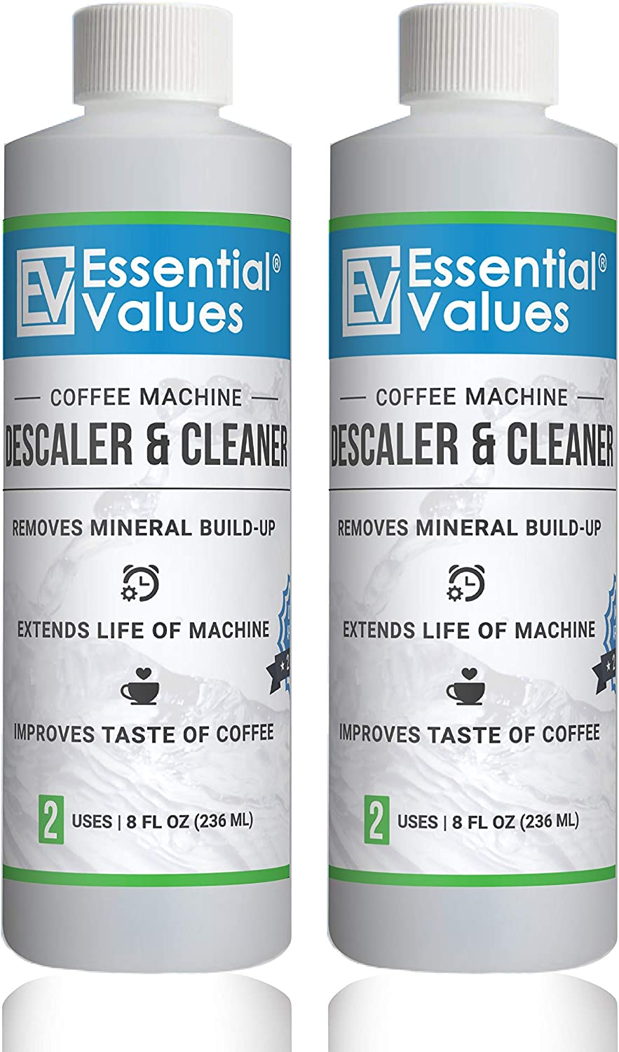 Essential Values Universal Descaling Solution (2 Pack / 4 Uses Total), Designed to Clean Keurig, Nespresso, Delonghi and All Single Use Coffee Pot and Espresso Machines - Proudly Made In USA