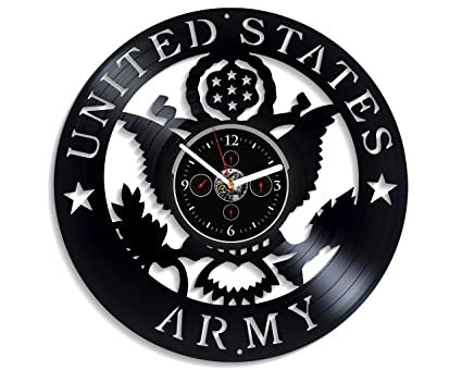 HandmadeCorp United States Army Wall Clock Vintage Vinyl Record Retro Large US Art