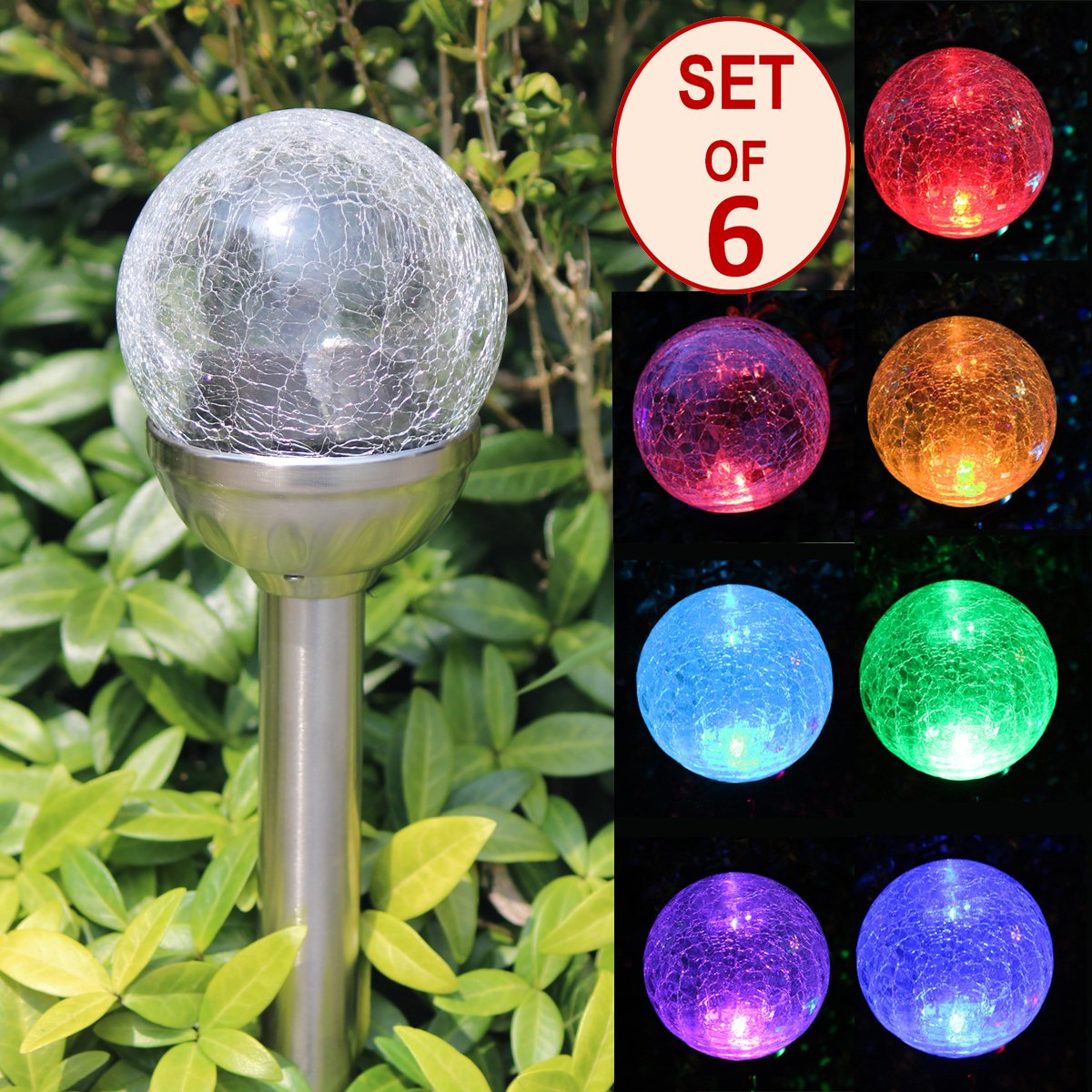 SET OF 6 Crackle Glass Globe Color-Changing LED & White LED Solar Path Lights by SOLAscape