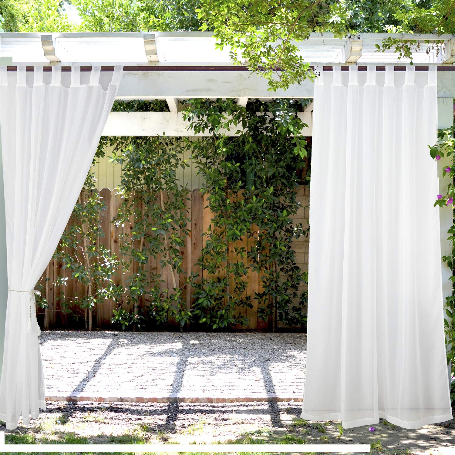 PRAVIVE Outdoor Sheer Curtain Panels - Elegant Waterfroof Tab Top Indoor/Outdoor Drapes/Pergola Shades/Gazebo Blinds for Patio Privacy (2 Tiebacks Included), Off White, 54'' W X 96'' L, Set of 2