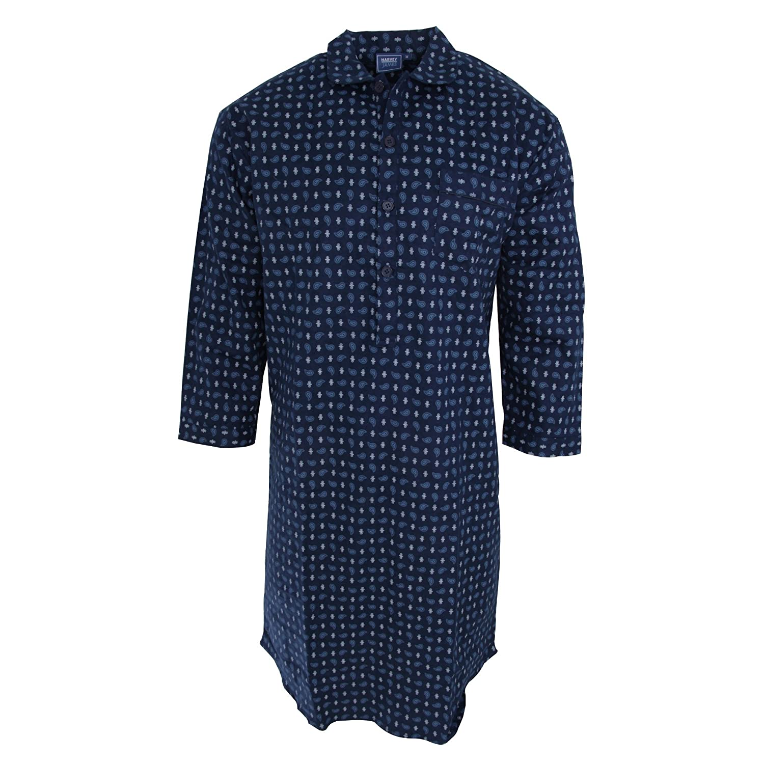Harvey James Mens Patterned Long Sleeve Nightshirt