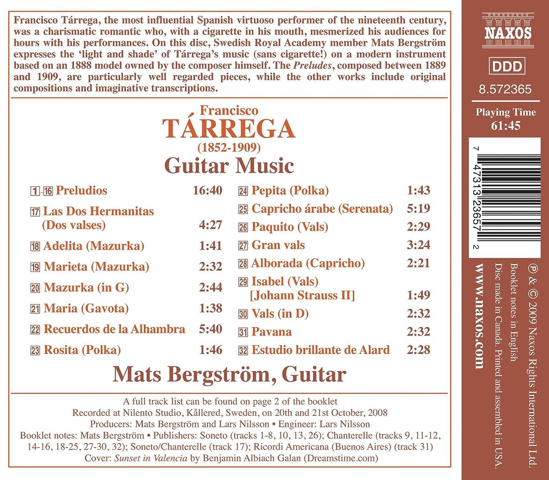 Musique Pour Guitare: Bergstrom Mats, Francisco Tarrega: Amazon.es ...