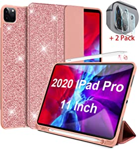 Lapogy Case for New iPad Pro 11 Case Glitter(2nd Generation) 2020 with Pencil Holder&Camera Lens Screen Protector&Charging,Auto Wake/Sleep Magnetic Trifold Stand Protector Back Cover for 11 inch,Pink