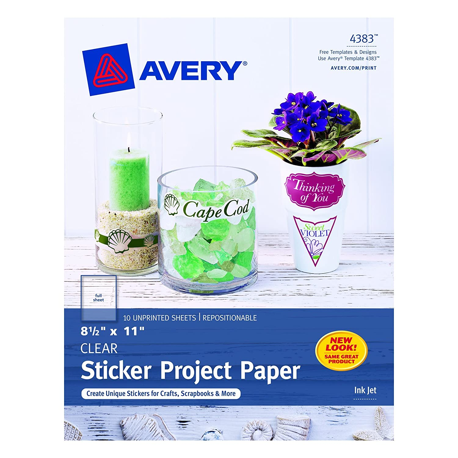 amazon com avery sticker project paper 8 5 x 11 inches clear