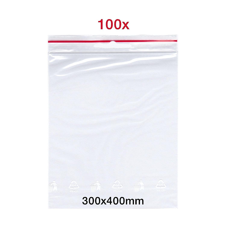 SmartPackTM - 100 sacchetti con chiusura a pressione, 300 x 400 mm, con zip e chiusura a sgancio rapido Germany