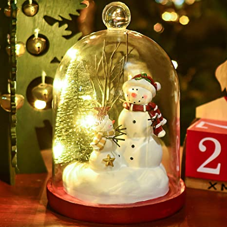 Christmas Snowmen Decorations.Valery Madelyn 10 Polyresin Christmas Snowman Figurines Decorations In Cloche With Led Lights Themed With Classic Collection Splendor Christmas