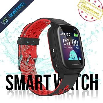 Smartwatch niños con localizador GPS+WiFi+AGPS+LBS Llamadas y cámara de Fotos. Reloj Inteligente acuático con IP67 para niños de 3 a 13 años (Rojo y ...