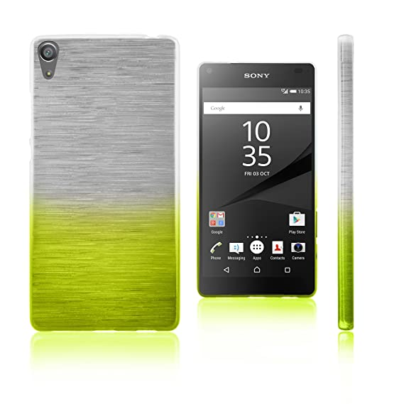 Xcessor Transition Color Flexible TPU Case for Sony Xperia Z5 Premium. With Gradient Silk Thread Texture. Transparent / Green