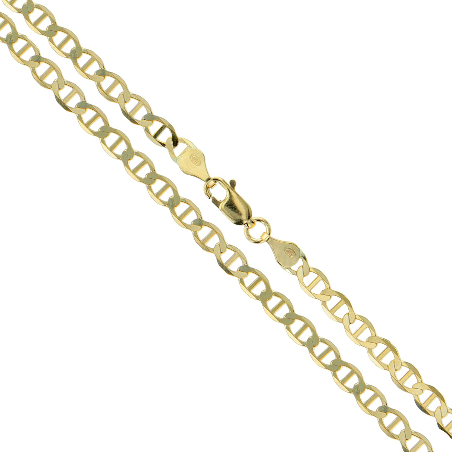 Amazon Com 10k Yellow Gold Solid Mariner Chain Marina Anchor Link 1 9mm Necklace 18 Jewelry