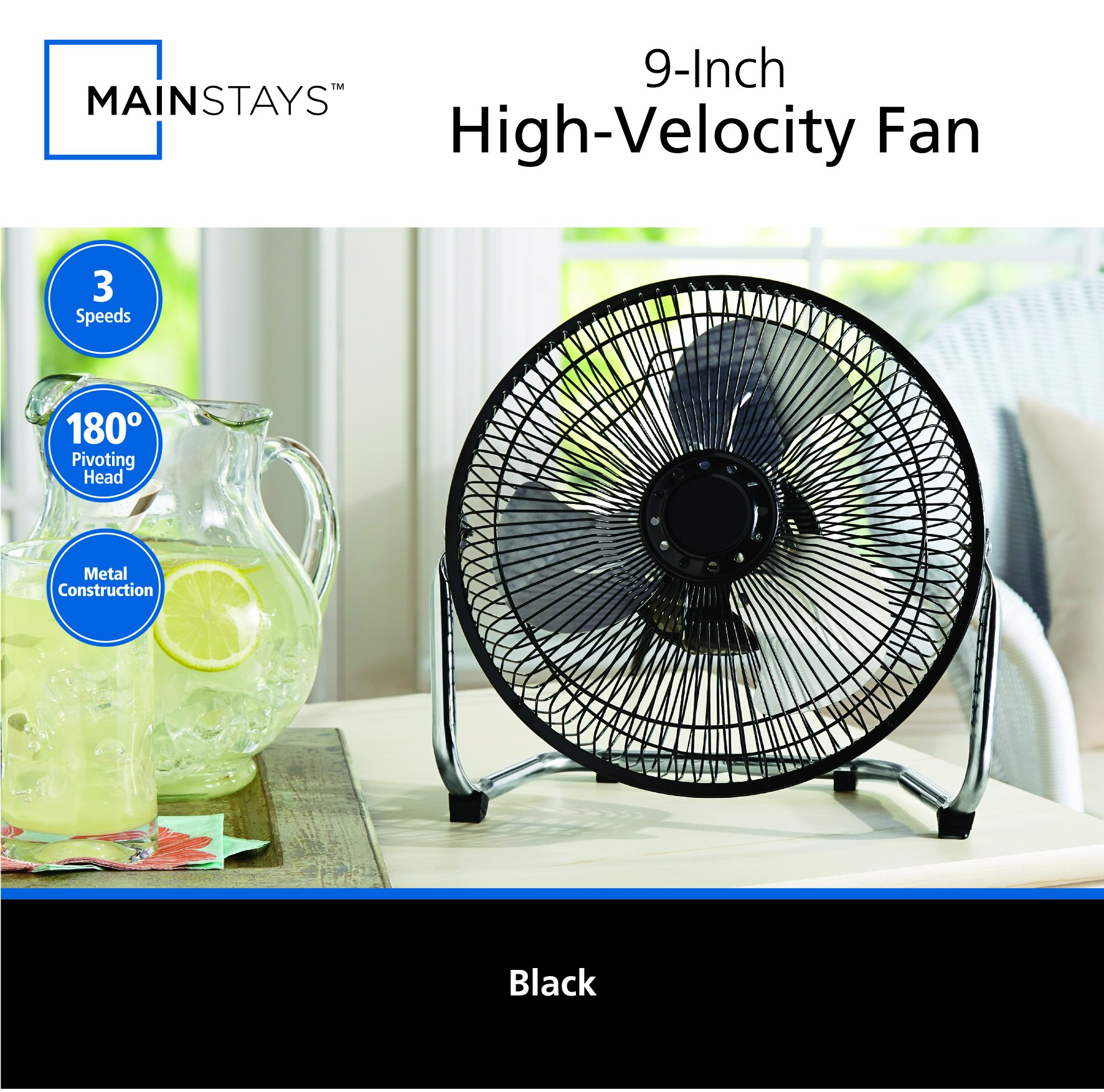 MAINSTAYS 9 inch High Velocity Fan by MAINSTAYS (Image #2)