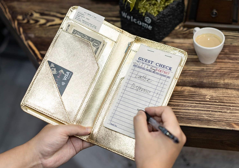 Guest Check Book Holder Money Pocket Fit Server Apron Metallic Gold Server Book for Waitress Book with Zipper Pocket Server Wallet with Money Pocket and Zipper Pouch Restaurant Waitstaff Organizer