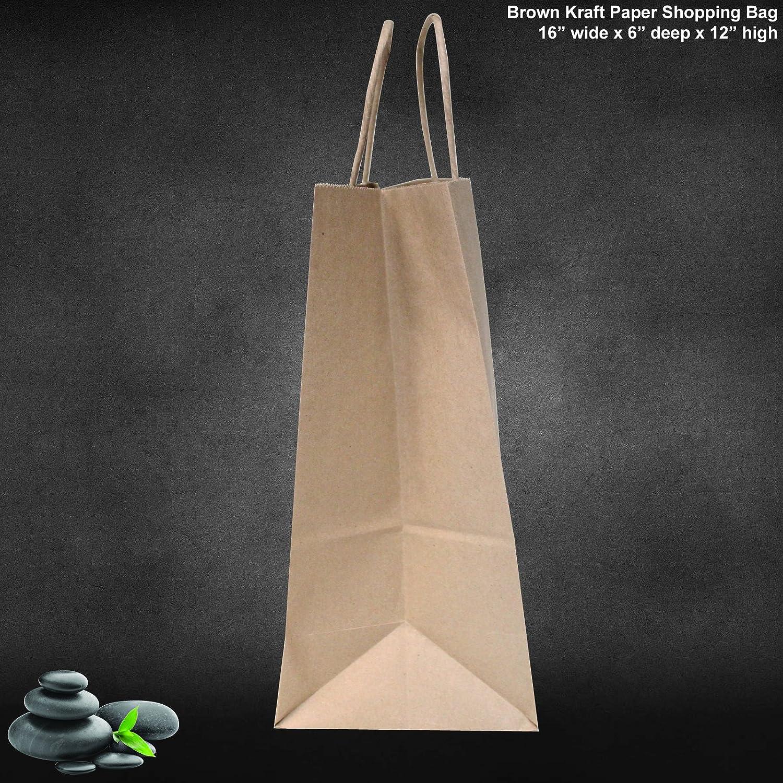 Flexicore Packaging 16x6x12-100 Pcs Gift Bags Brown Kraft Paper Bags Merchandise Party Shopping