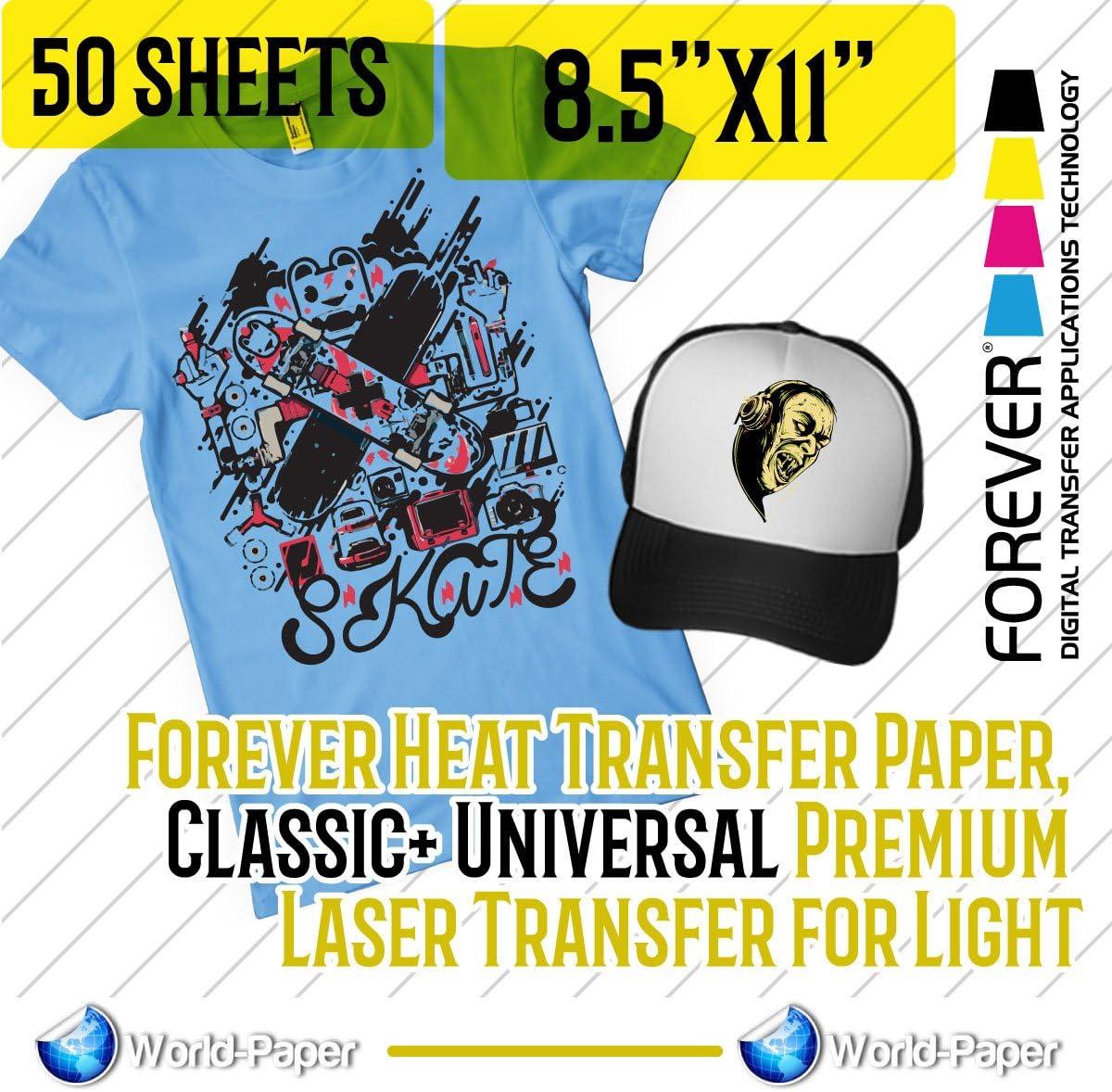 Forever Heat Transfer Paper Universal Premium Laser Transfer for Light 50 Sheets 8.5x11 Classic