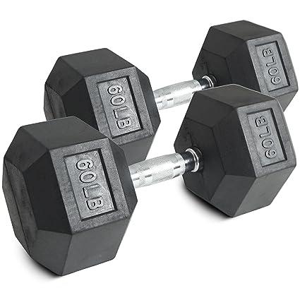 Par 60 Lb Negro recubierto de goma mancuernas hexagonales peso Training Set 120 lb Fitness