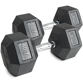 Par 60 Lb Negro recubierto de goma mancuernas hexagonales peso Training Set 120 lb Fitness: Amazon.es: Deportes y aire libre