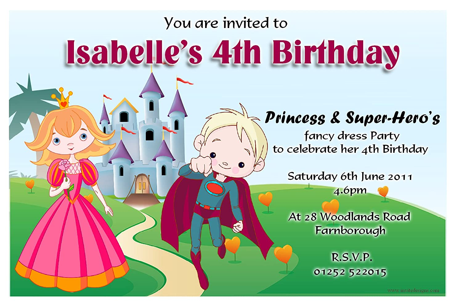 10 Personalised Princess and Super Hero\'s Party Invitations N85 ...