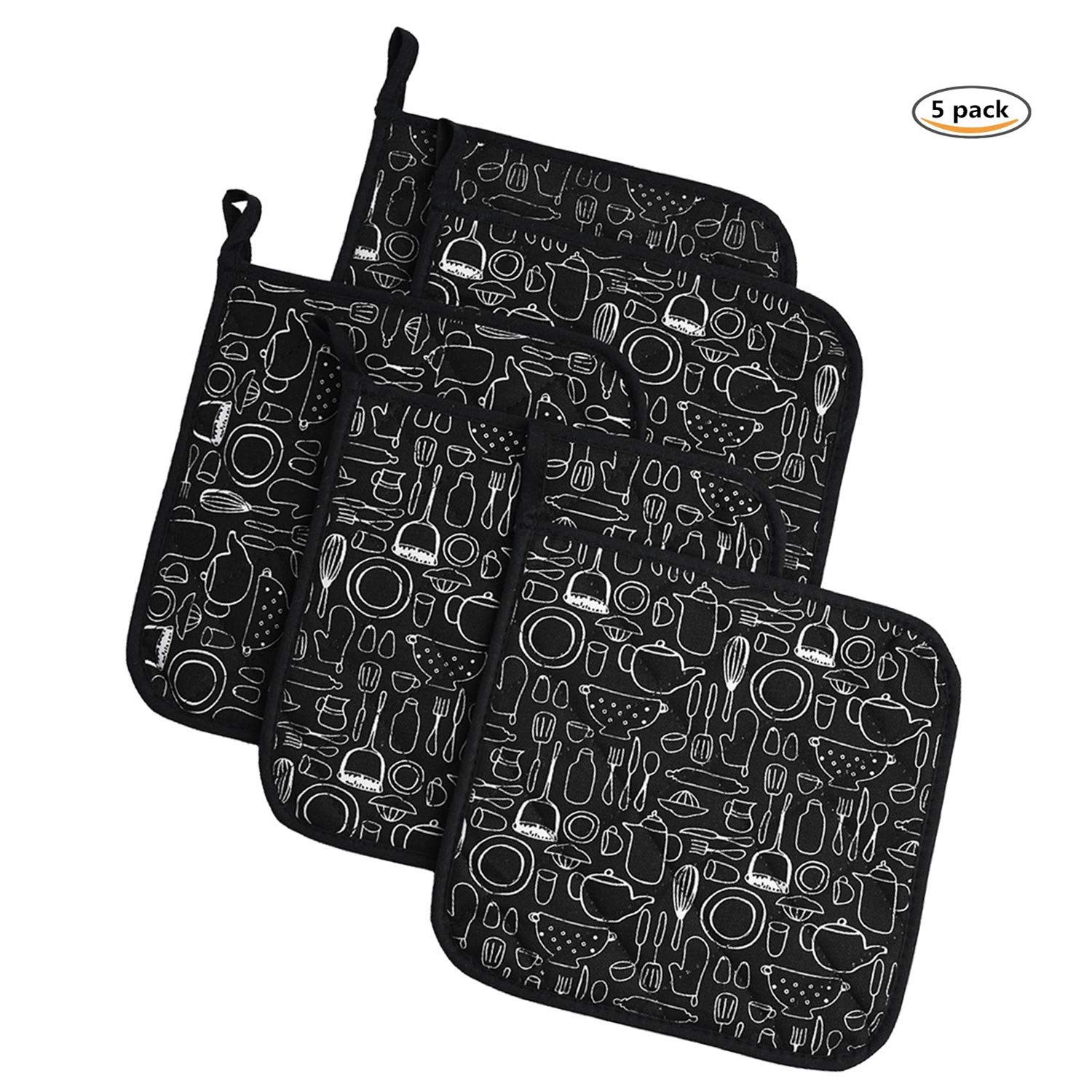 Jennice House Potholders Trivets Kitchen Heat Resistant Cotton Coasters Hot Pads Pot Holders Set of 5 Everyday Cooking Baking 8 x 8Inch (Black)