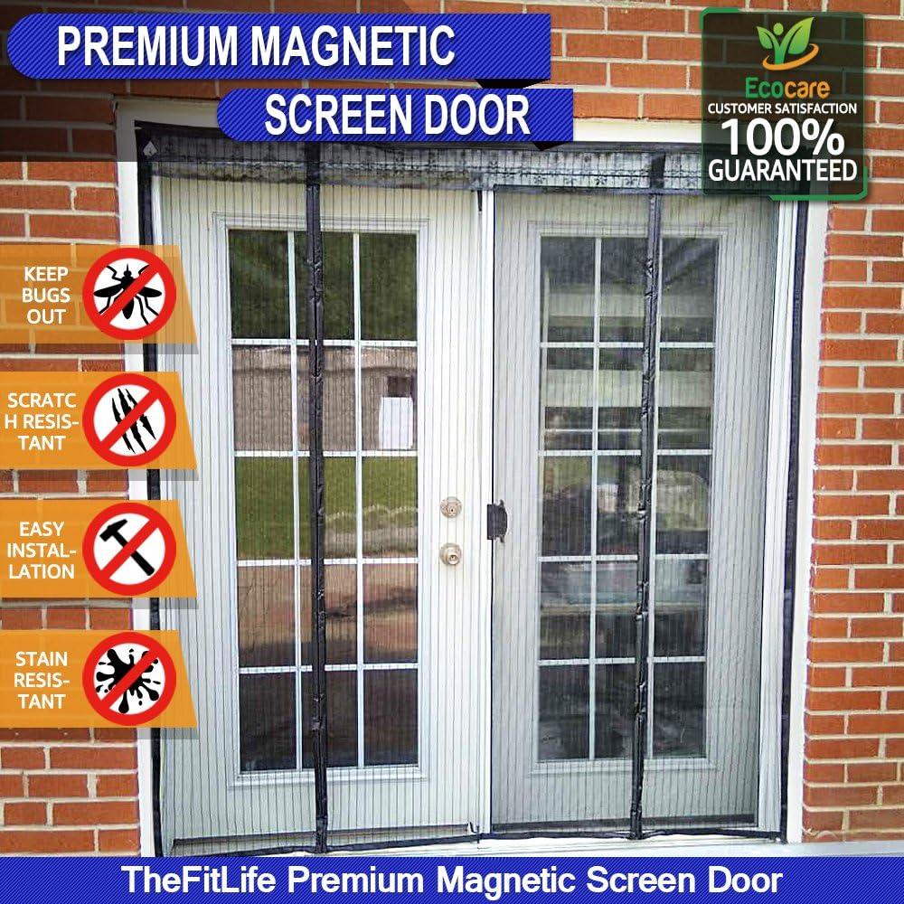 TheFitLife Cortina Mosquitera magnética para Puertas dobles - Malla con cierre de gancho y bucle e imanes potentes que cierran instantáneamente puertas grandes de patios (188x206cm Negro)