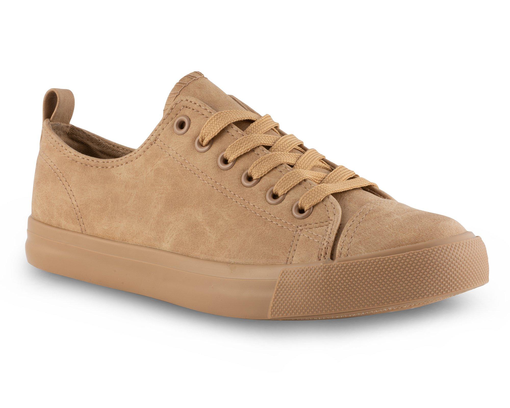 Twisted Women's Low Top Faux Leather Sneaker -KIXLO300 TAN, Size 7