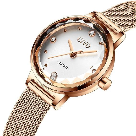 CIVO Relojes para Mujer Reloj Damas de Malla Impermeable Silm Minimalista Oro  Rosa Elegante Banda de Acero Inoxidable Relojes de Pulsera Lujo Moda Vestir  ... 94872f5ca8c2