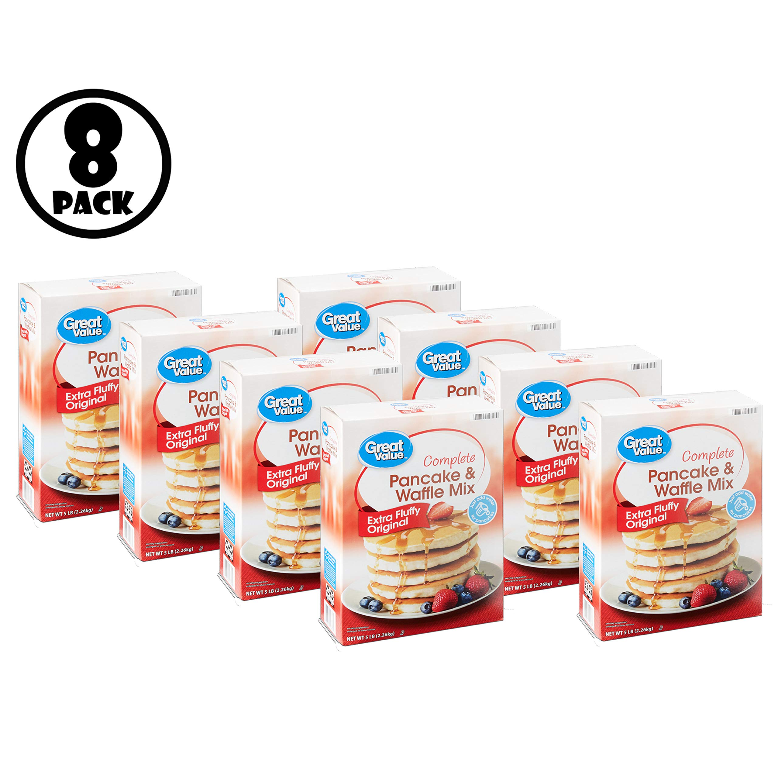 (Pack of 8) Great Value Complete Original Pancake & Waffle Mix Family Size, 80 Oz