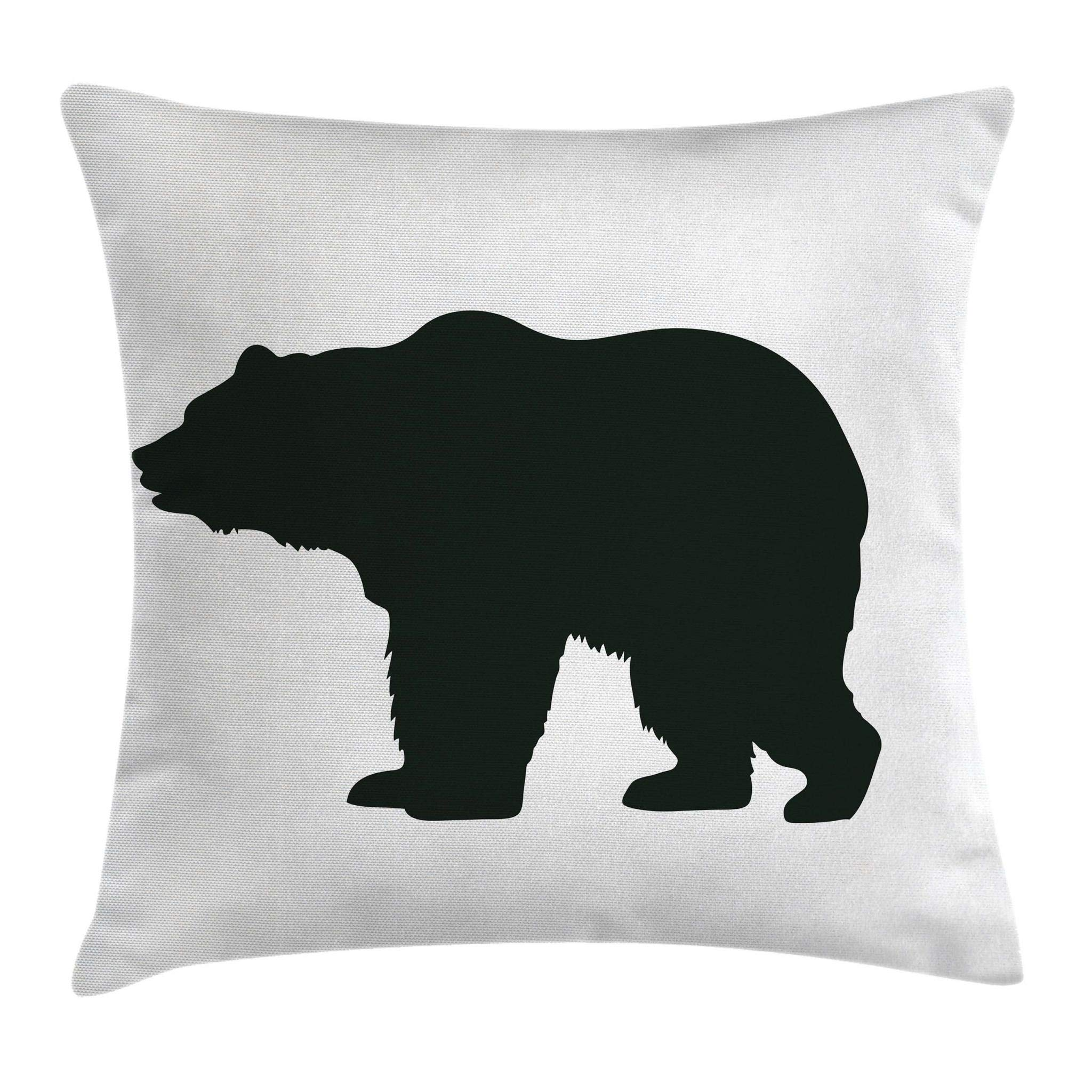Ambesonne Nature Throw Pillow Cushion Cover, Grizzly Alaskan Bear Animal Wildlife Forest Mountain Canadian Artwork Image, Decorative Square Accent Pillow Case, 16 X 16 Inches, Black and White